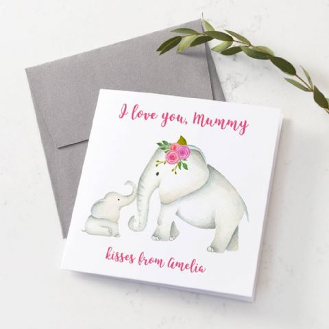 Personalised Elephant Mum And Baby Card